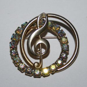 Vintage gold and AB rhinestone Music Brooch